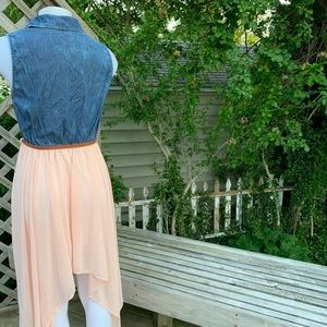 Dresses - Jean Vest top attached to a Pink skirt w/ belt